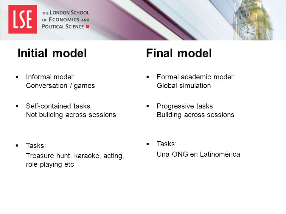  Informal model: Conversation / games  Self-contained tasks Not building across sessions  Tasks: Treasure hunt, karaoke, acting, role playing etc  Formal academic model: Global simulation  Progressive tasks Building across sessions  Tasks: Una ONG en Latinomérica Initial modelFinal model