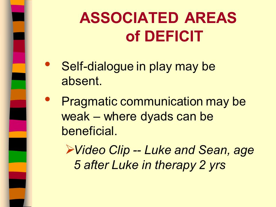 ASSOCIATED AREAS of DEFICIT Self-dialogue in play may be absent.