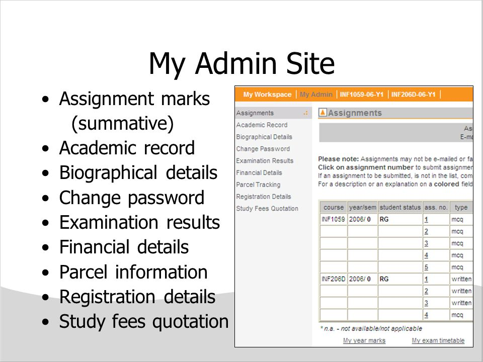 My Admin Site Assignment marks (summative) Academic record Biographical details Change password Examination results Financial details Parcel information Registration details Study fees quotation