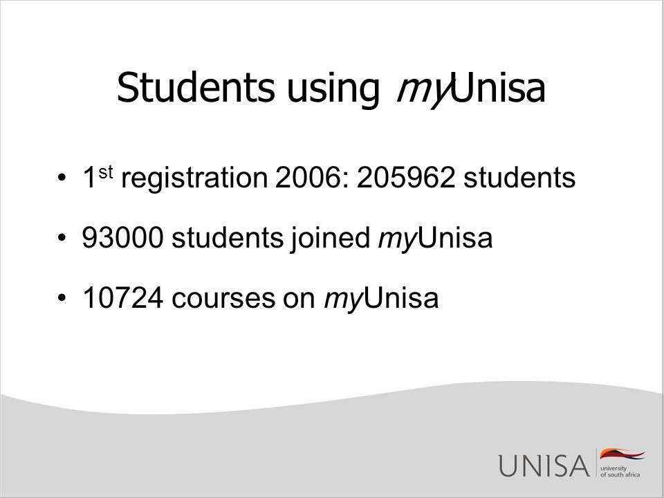 Students using myUnisa 1 st registration 2006: 205962 students 93000 students joined myUnisa 10724 courses on myUnisa
