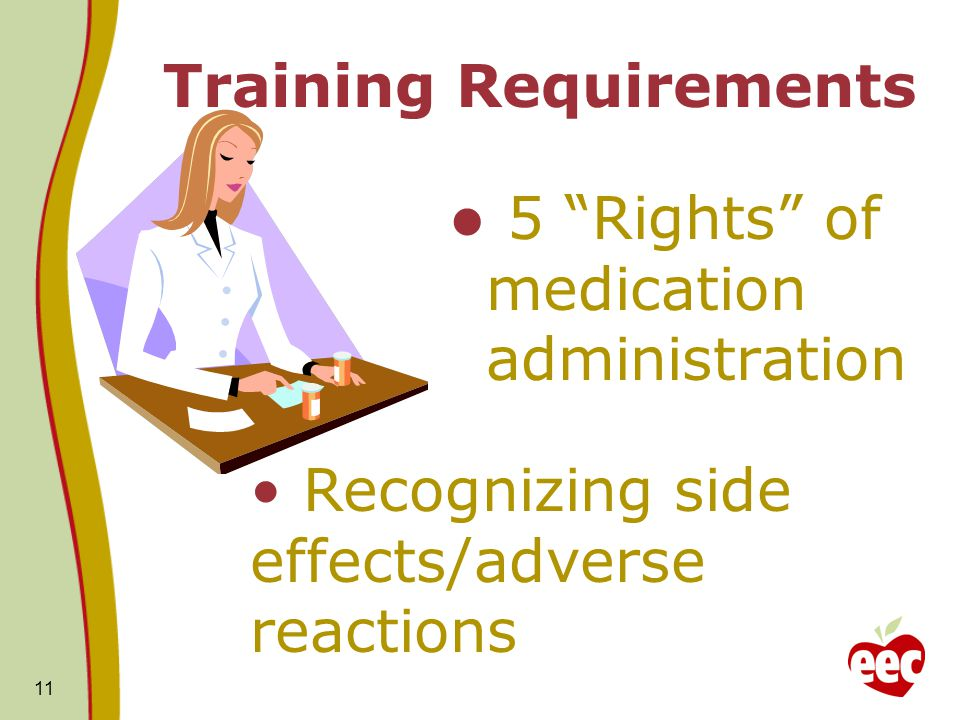 """11 Training Requirements 5 """"Rights"""" of medication administration Recognizing side effects/adverse reactions"""