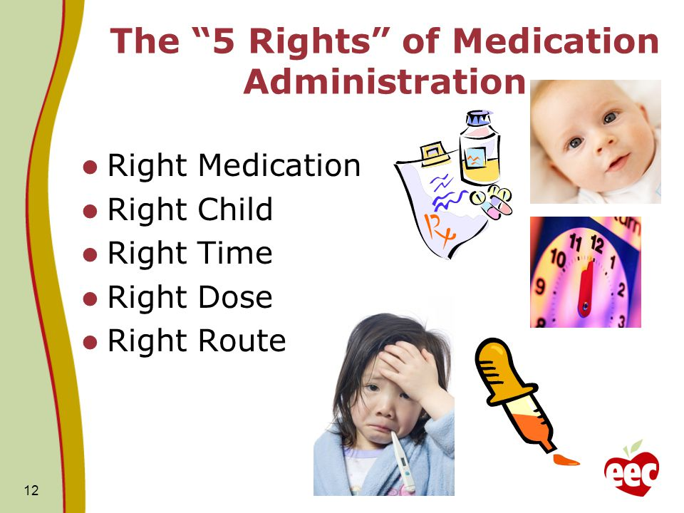 """12 The """"5 Rights"""" of Medication Administration Right Medication Right Child Right Time Right Dose Right Route"""