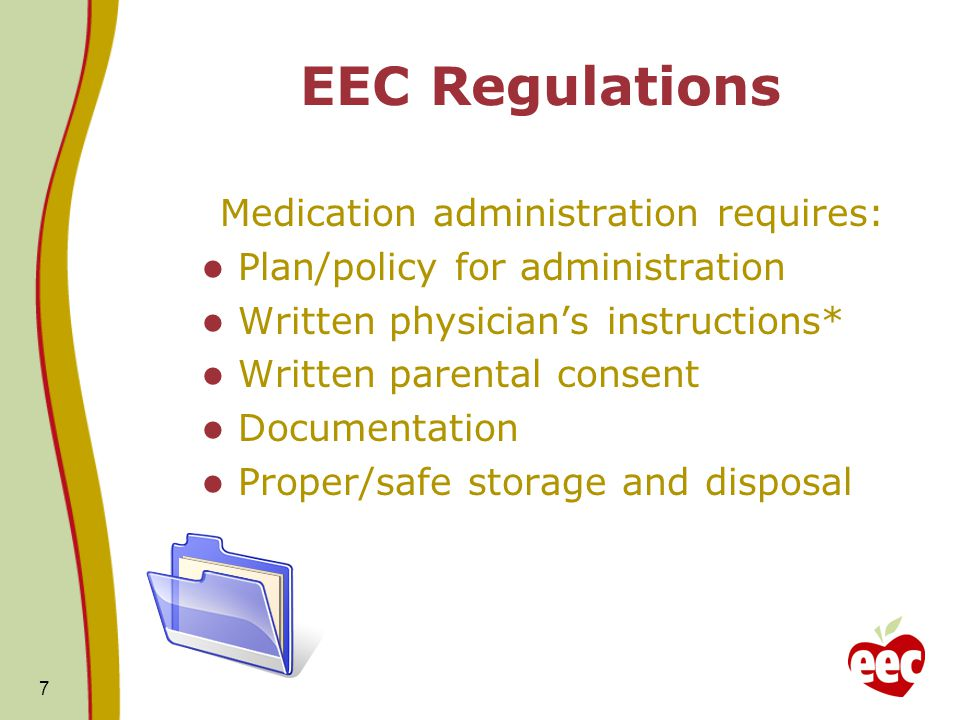 Medication must be administered in accordance with physician's orders. 8 EEC Regulations
