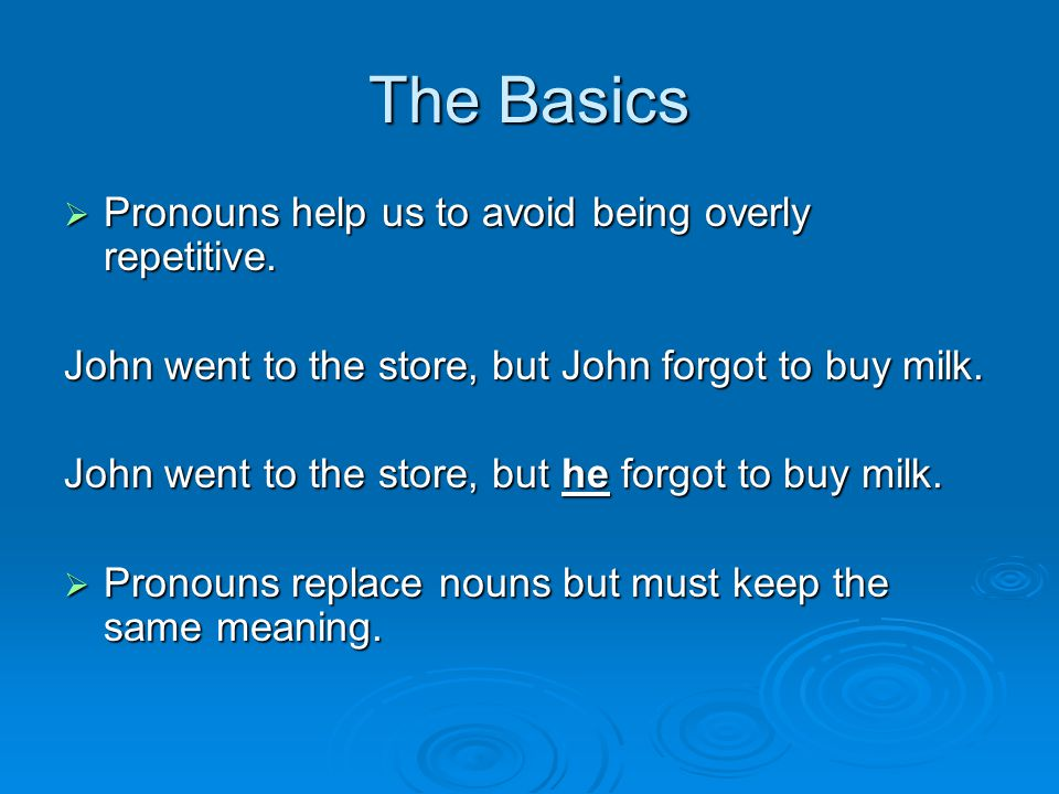 The Basics  Pronouns help us to avoid being overly repetitive.