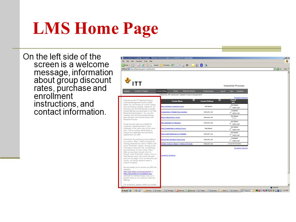 LMS Home Page Across the top of the screen is a banner.