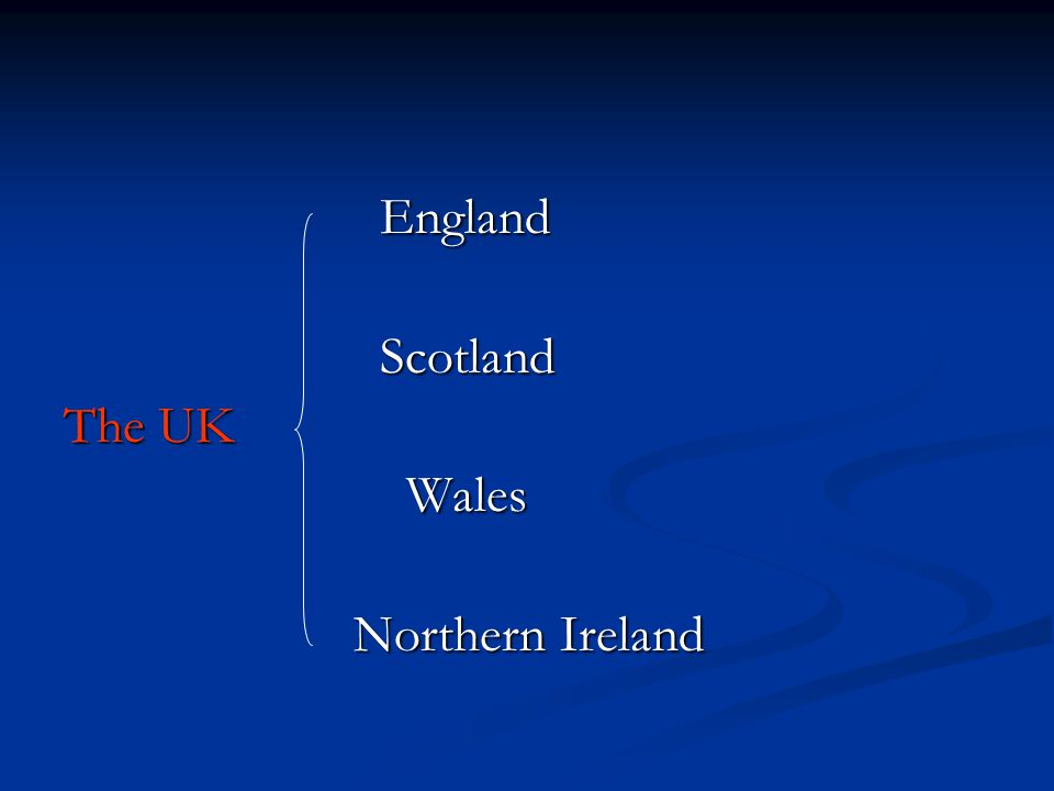 England England Scotland Scotland The UK Wales Wales Northern Ireland Northern Ireland
