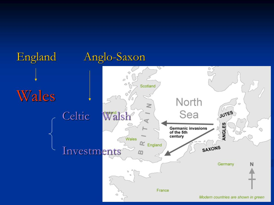 England Anglo-Saxon Wales Celtic Walsh Celtic Walsh Investments Investments