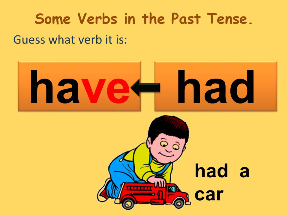 Guess what verb it is: had have had a car Some Verbs in the Past Tense.