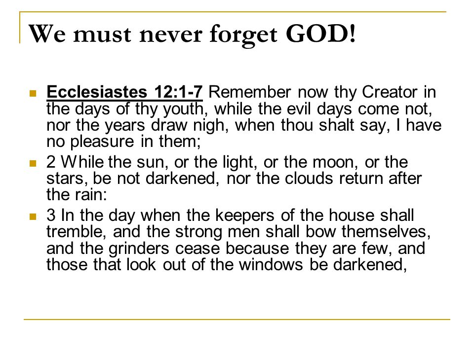 We must never forget GOD.