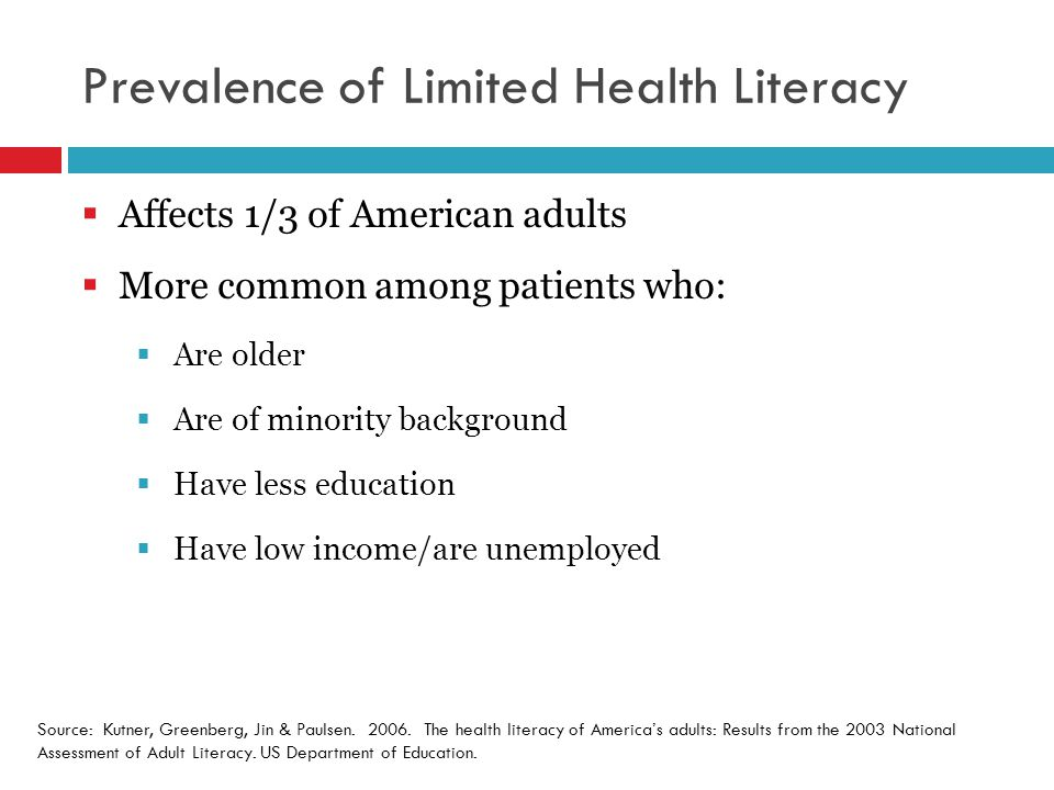 Prevalence of Limited Health Literacy  Affects 1/3 of American adults  More common among patients who:  Are older  Are of minority background  Have less education  Have low income/are unemployed Source: Kutner, Greenberg, Jin & Paulsen.