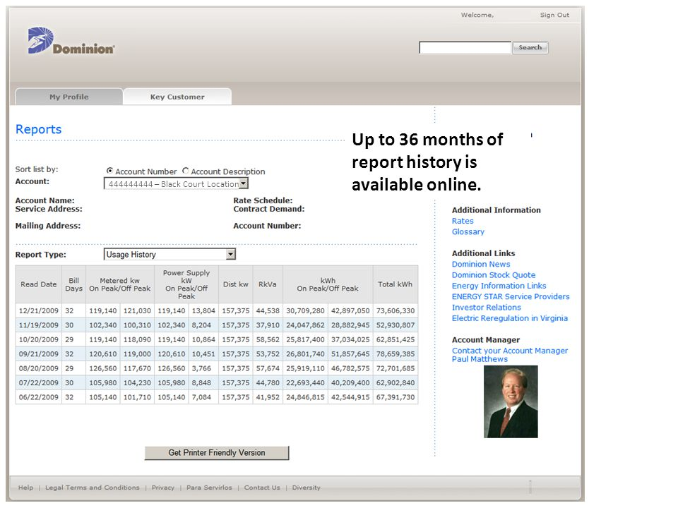 Up to 36 months of report history is available online.