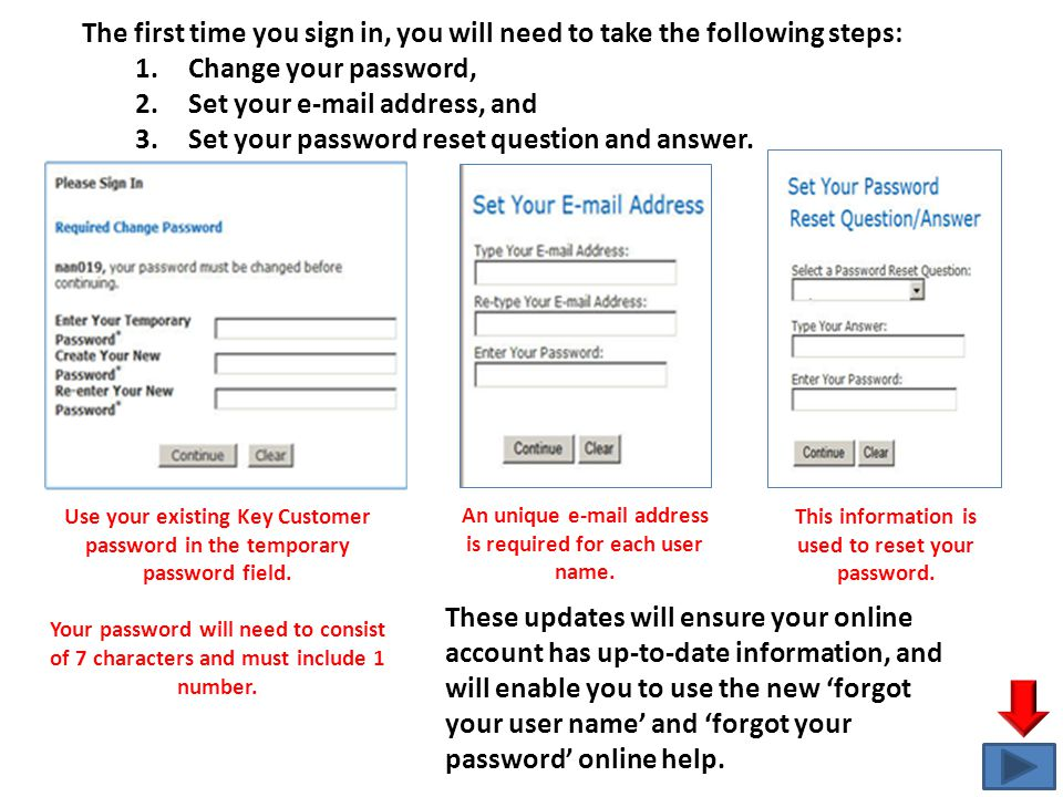 The first time you sign in, you will need to take the following steps: 1.Change your password, 2.Set your e-mail address, and 3.Set your password rese