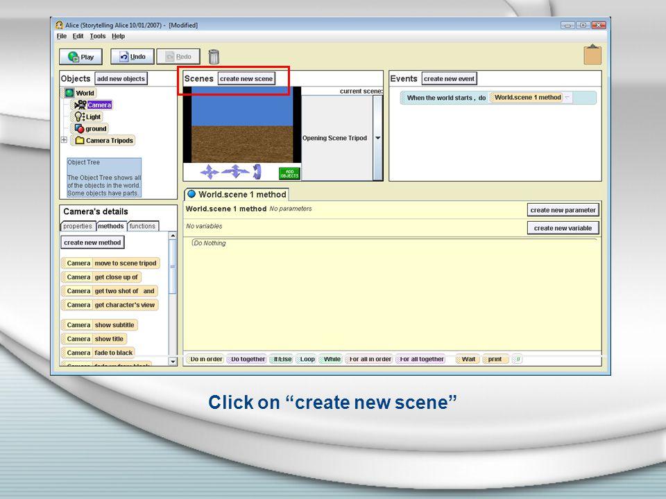 Click on create new scene