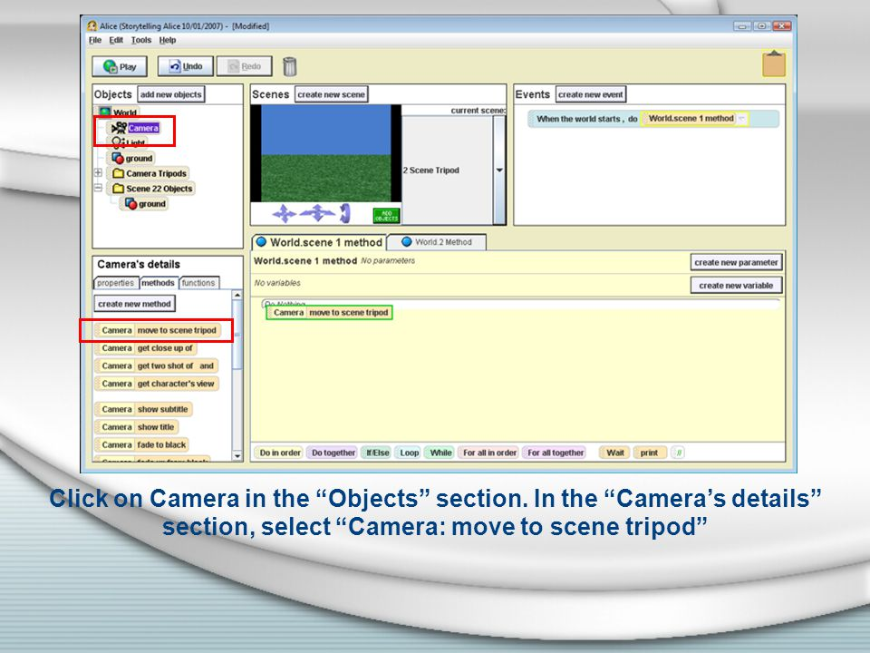 Drag Camera: move to scene tripod to under the From method.