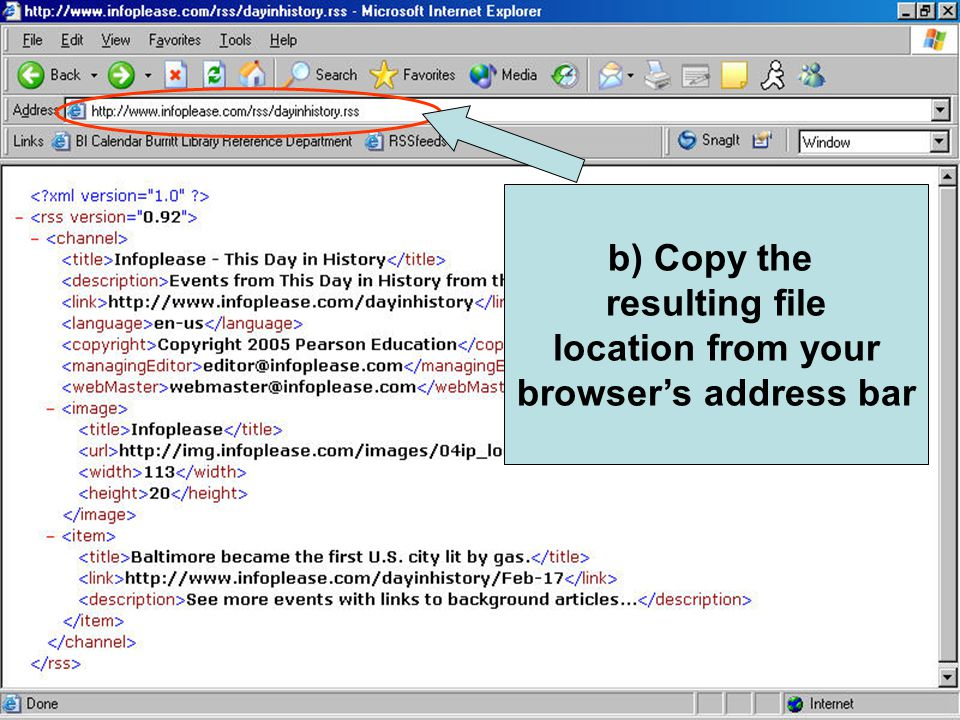 b) Copy the resulting file location from your browser's address bar