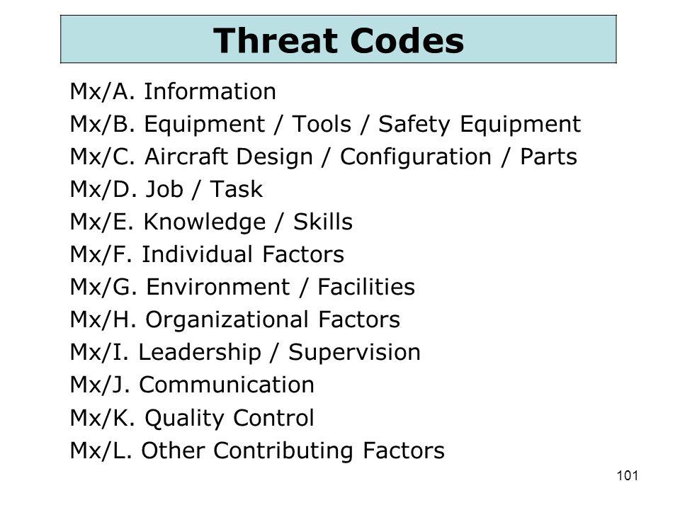 101 Mx/A. Information Mx/B. Equipment / Tools / Safety Equipment Mx/C. Aircraft Design / Configuration / Parts Mx/D. Job / Task Mx/E. Knowledge / Skil