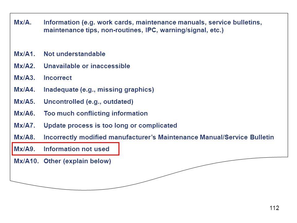 112 Mx/A.Information (e.g. work cards, maintenance manuals, service bulletins, maintenance tips, non-routines, IPC, warning/signal, etc.) Mx/A1.Not un