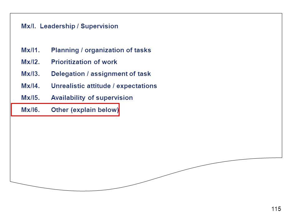 115 Mx/I. Leadership / Supervision Mx/I1.Planning / organization of tasks Mx/I2.Prioritization of work Mx/I3.Delegation / assignment of task Mx/I4.Unr