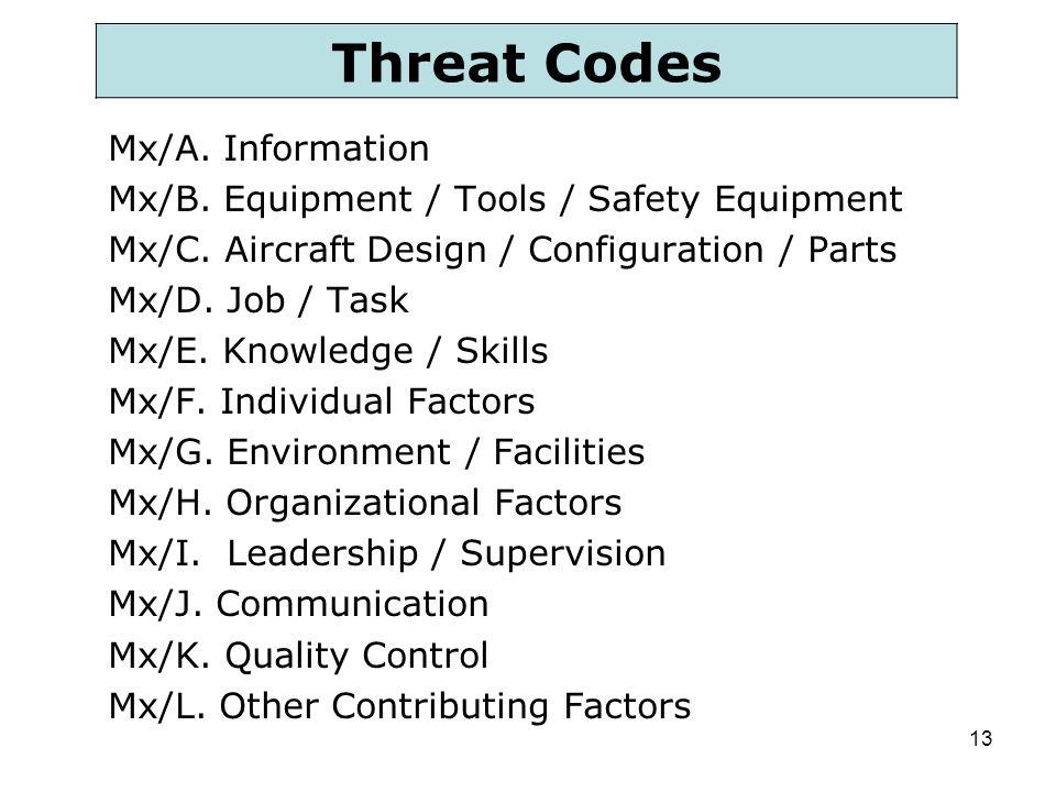 13 Mx/A. Information Mx/B. Equipment / Tools / Safety Equipment Mx/C. Aircraft Design / Configuration / Parts Mx/D. Job / Task Mx/E. Knowledge / Skill