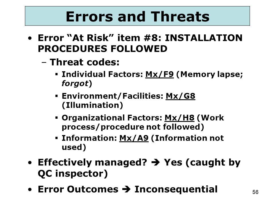 "56 Errors and Threats Error ""At Risk"" item #8: INSTALLATION PROCEDURES FOLLOWED –Threat codes:  Individual Factors: Mx/F9 (Memory lapse; forgot)  En"