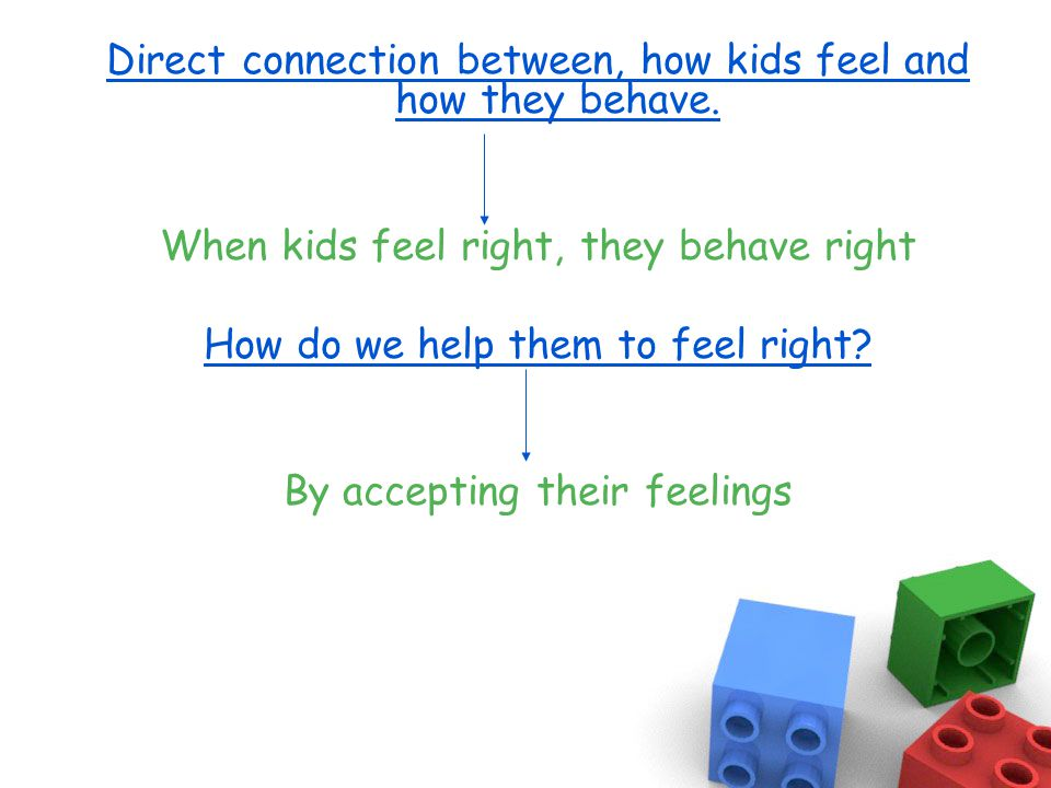 Direct connection between, how kids feel and how they behave.