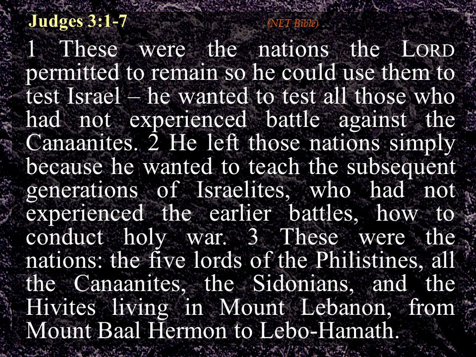 Judges 3:1-7 (NET Bible) 1 These were the nations the L ORD permitted to remain so he could use them to test Israel – he wanted to test all those who had not experienced battle against the Canaanites.