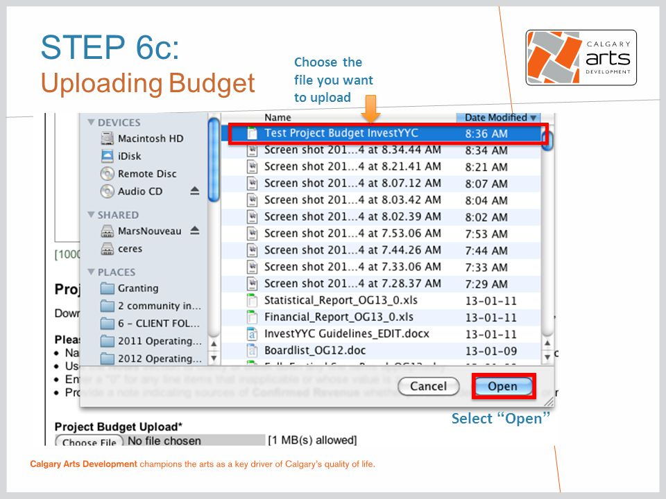 STEP 6c: Uploading Budget Choose the file you want to upload Select Open