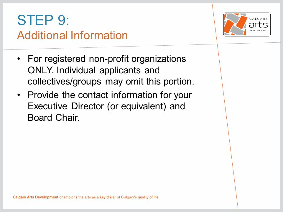 STEP 9: Additional Information For registered non-profit organizations ONLY.