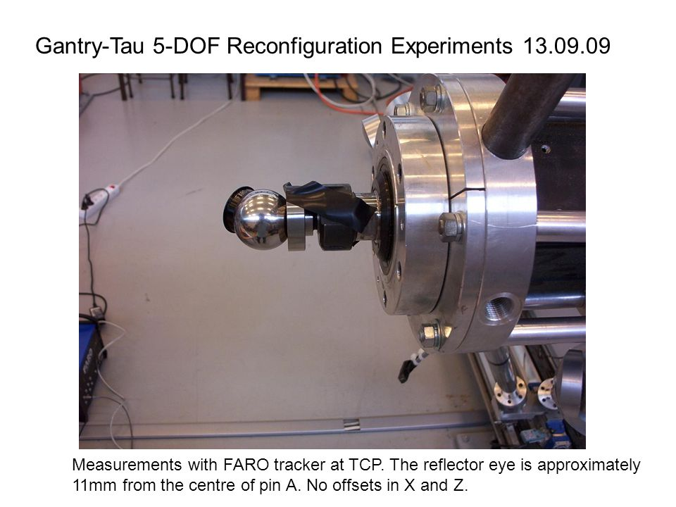 Gantry-Tau 5-DOF Reconfiguration Experiments 13.09.09 Measurements with FARO tracker at TCP.