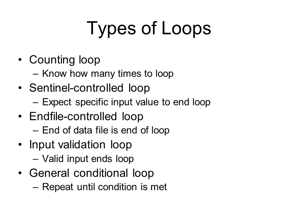 Types of Loops Counting loop –Know how many times to loop Sentinel-controlled loop –Expect specific input value to end loop Endfile-controlled loop –E