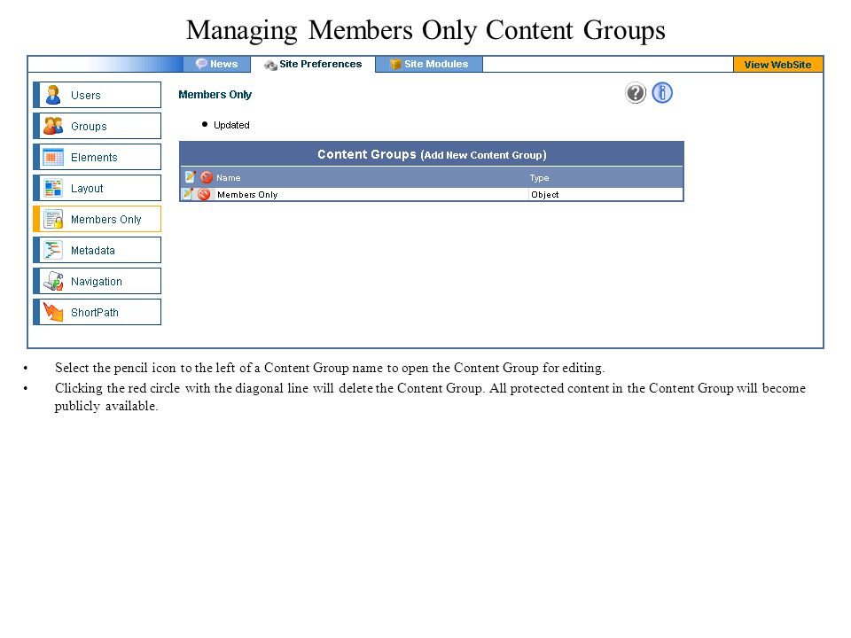 Managing Members Only Content Groups Select the pencil icon to the left of a Content Group name to open the Content Group for editing.