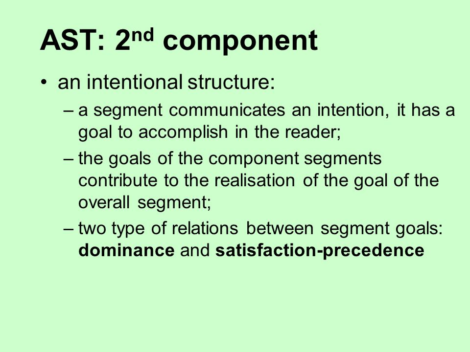 AST: 1 st component a linguistic structure: –more sentences are aggregated in the same segment –segments display a recursive structure