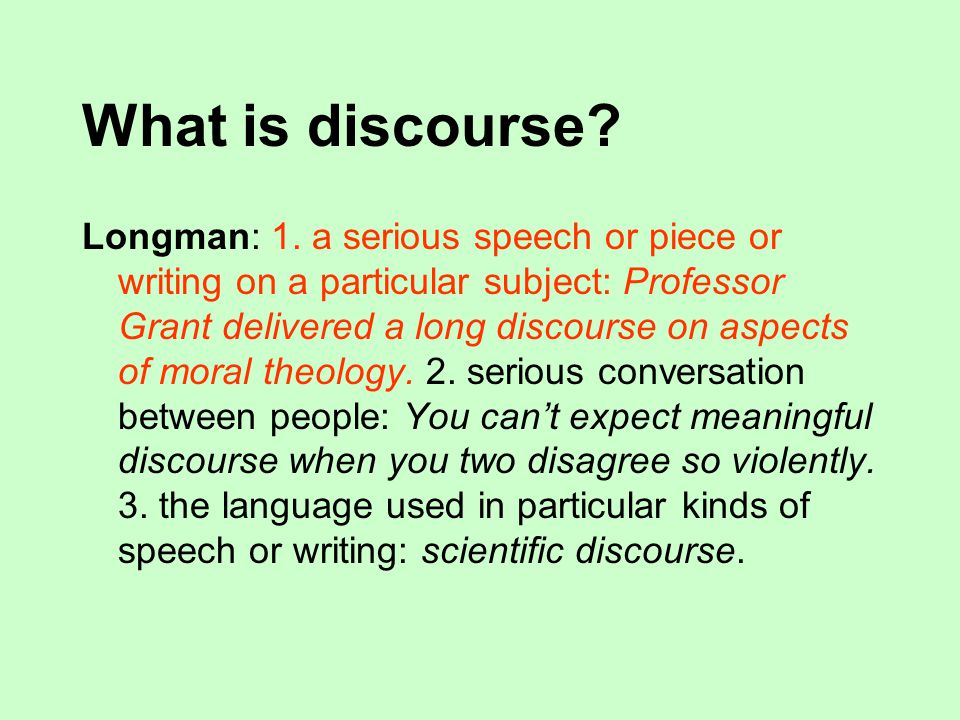 Discourse theories.