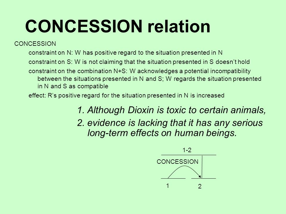 CONCESSION relation CONCESSION constraint on N: W has positive regard to the situation presented in N constraint on S: W is not claiming that the situation presented in S doesn't hold constraint on the combination N+S: W acknowledges a potential incompatibility between the situations presented in N and S; W regards the situation presented in N and S as compatible effect: R's positive regard for the situation presented in N is increased