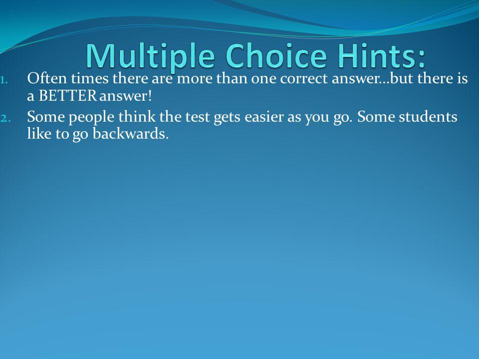 Multiple Choice Hints: 7.