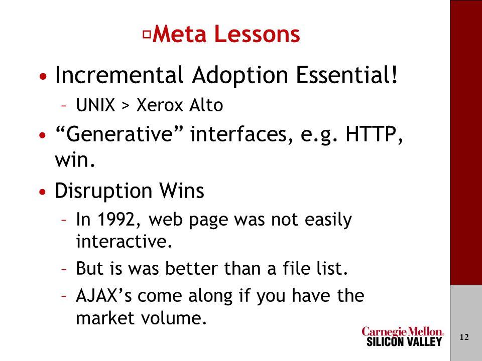"Meta Lessons Incremental Adoption Essential! –UNIX > Xerox Alto ""Generative"" interfaces, e.g. HTTP, win. Disruption Wins –In 1992, web page was not ea"
