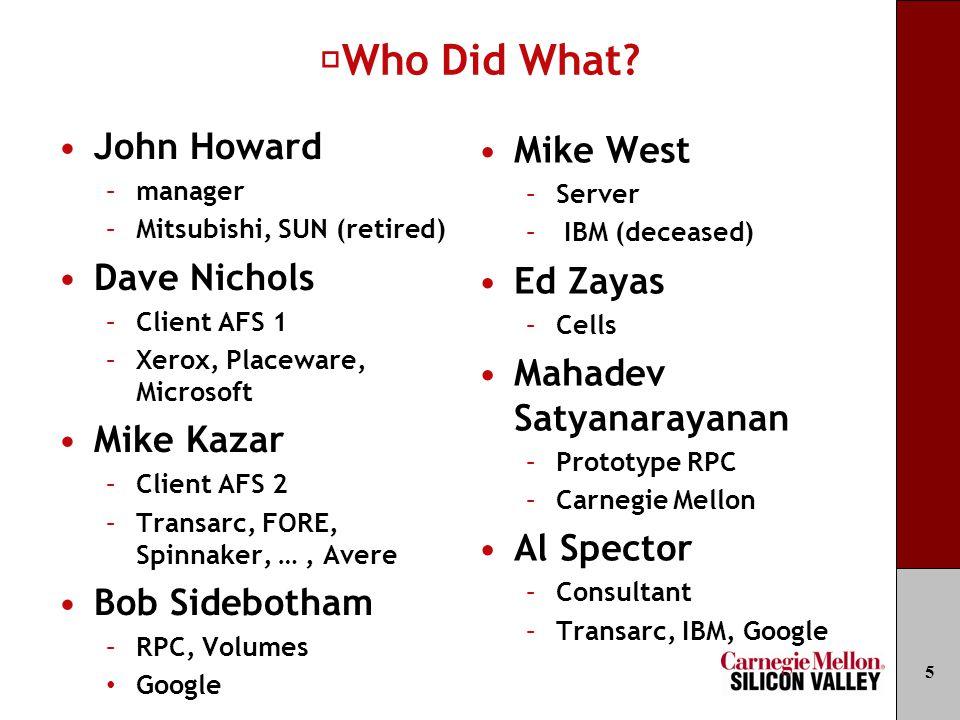 Who Did What? John Howard –manager –Mitsubishi, SUN (retired) Dave Nichols –Client AFS 1 –Xerox, Placeware, Microsoft Mike Kazar –Client AFS 2 –Transa