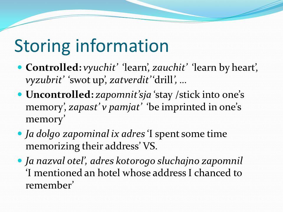 Storing information Controlled: vyuchit' 'learn', zauchit' 'learn by heart', vyzubrit' 'swot up', zatverdit' 'drill', … Uncontrolled: zapomnit'sja 'stay /stick into one's memory', zapast' v pamjat' 'be imprinted in one's memory' Ja dolgo zapominal ix adres 'I spent some time memorizing their address' VS.