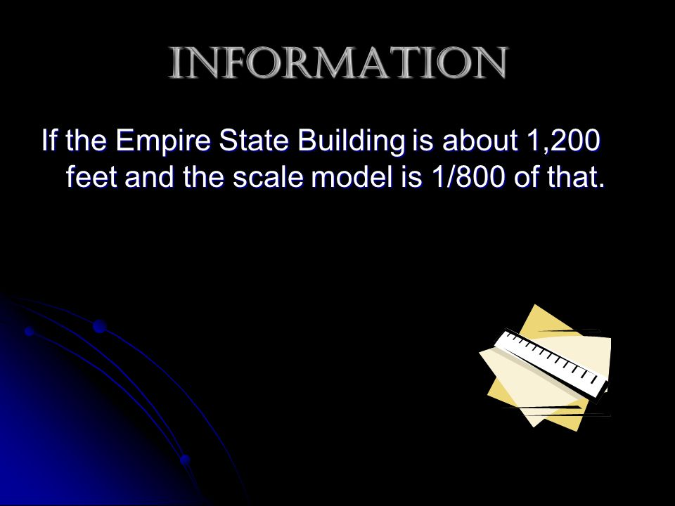Information If the Empire State Building is about 1,200 feet and the scale model is 1/800 of that.
