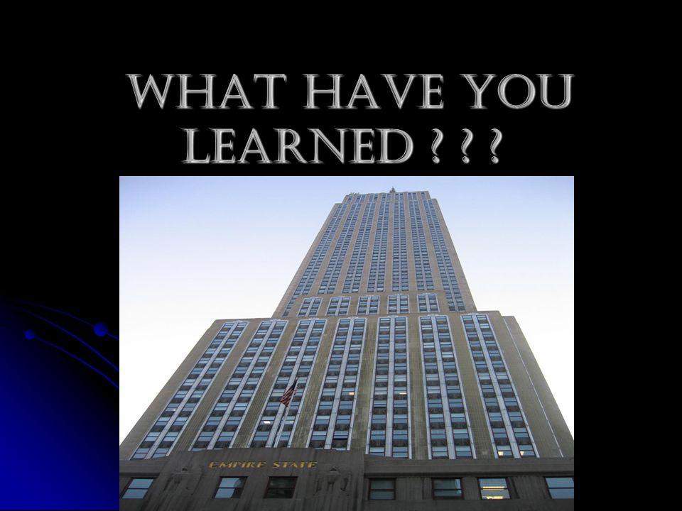 What Have You Learned ? ? ? What Have You Learned ? ? ?