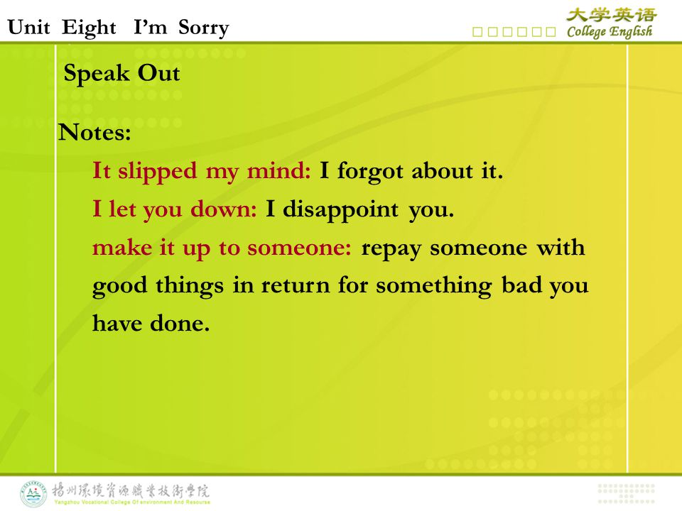 Speak Out Notes: It slipped my mind: I forgot about it.