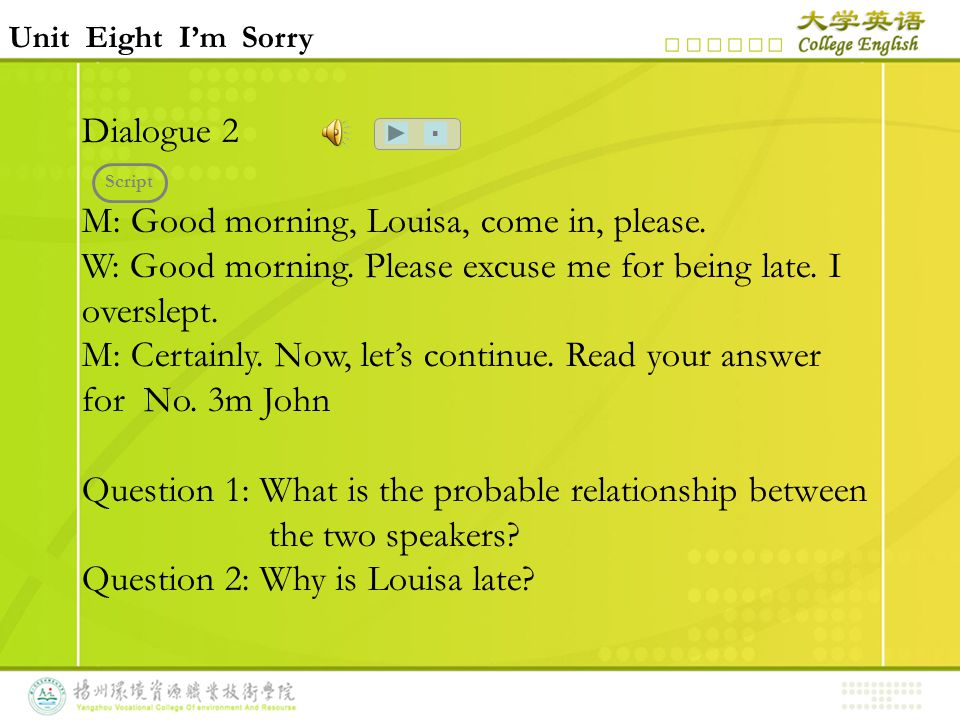Unit Eight I'm Sorry Dialogue 2 M: Good morning, Louisa, come in, please.