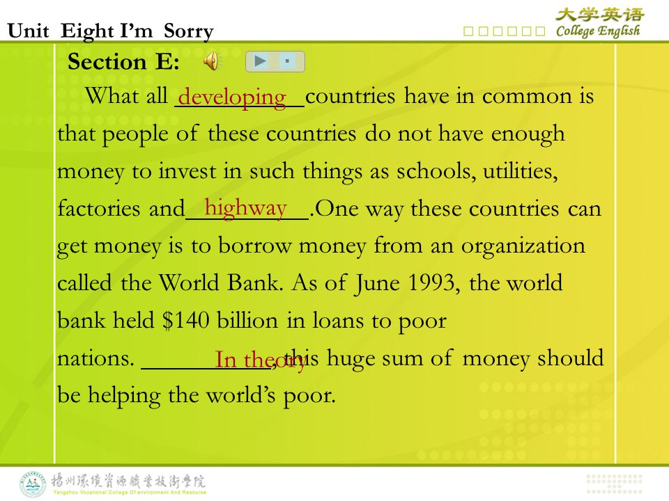 Section E: What all countries have in common is that people of these countries do not have enough money to invest in such things as schools, utilities