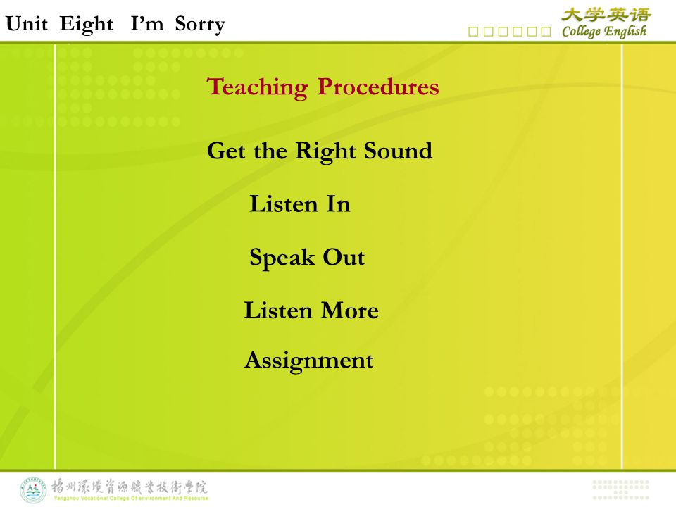 Teaching Procedures Get the Right Sound Listen In Speak Out Listen More Unit Eight I'm Sorry Assignment