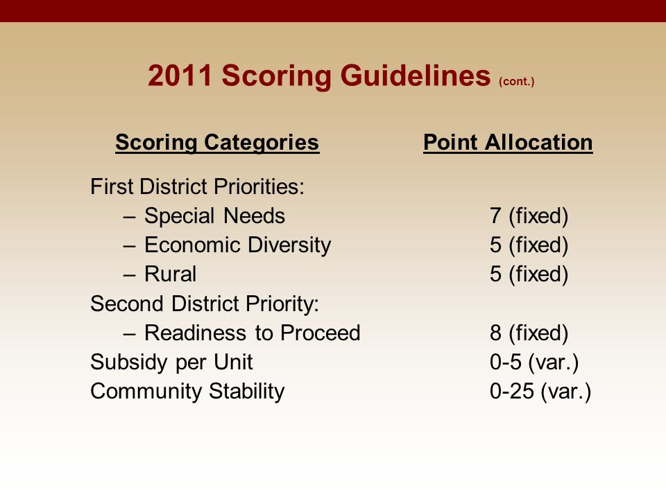 Scoring CategoriesPoint Allocation First District Priorities: –Special Needs 7 (fixed) –Economic Diversity 5 (fixed) –Rural 5 (fixed) Second District Priority: –Readiness to Proceed8 (fixed) Subsidy per Unit 0-5 (var.) Community Stability 0-25 (var.) 2011 Scoring Guidelines (cont.)
