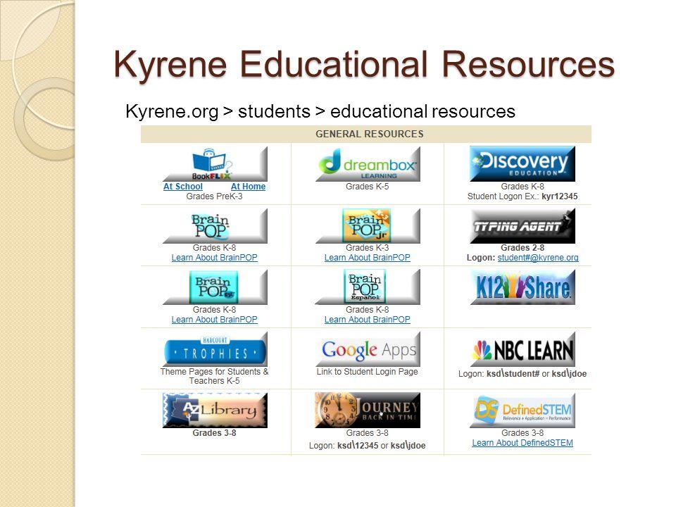 Kyrene Educational Resources Kyrene.org > students > educational resources