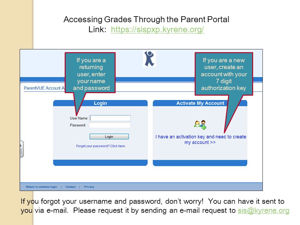 Accessing Grades Through the Parent Portal Link:   If you are a returning user, enter your name and password If you are a new user, create an account with your 7 digit authorization key If you forgot your username and password, don't worry.
