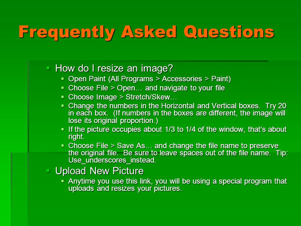 Frequently Asked Questions  How do I resize an image.