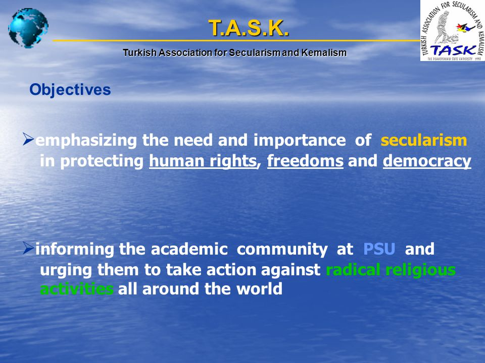 T.A.S.K. Turkish Association for Secularism and Kemalism Objectives  emphasizing the need and importance of secularism in protecting human rights, fr