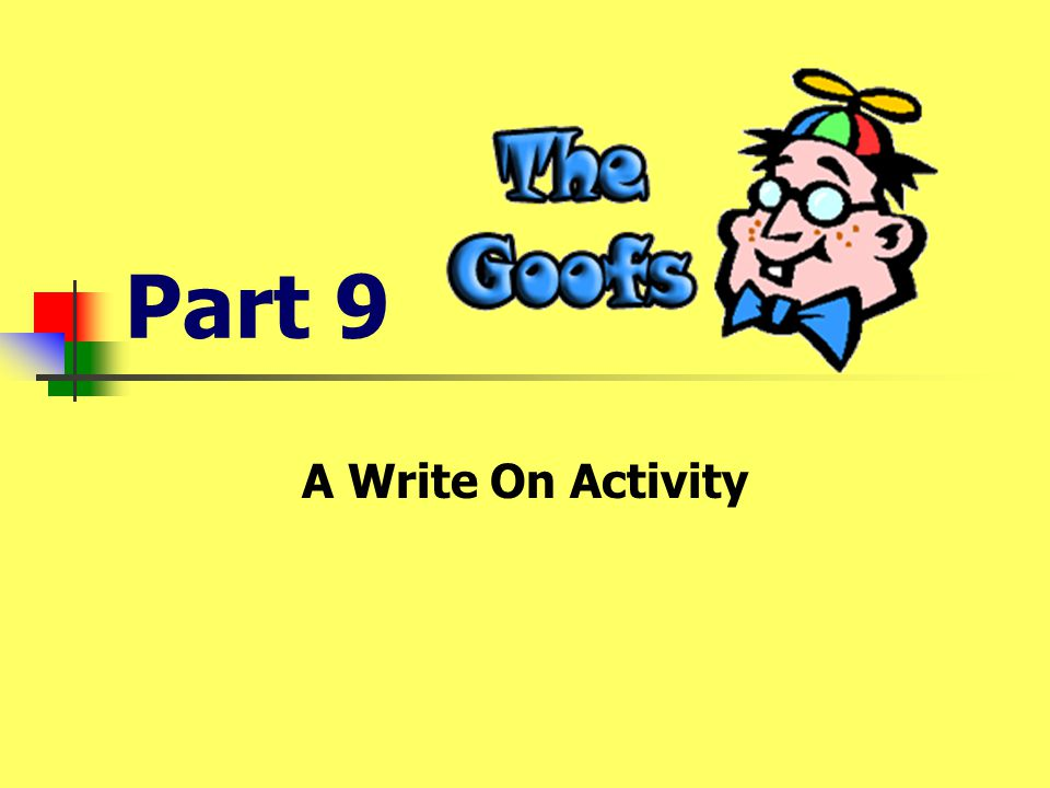 Part 9 A Write On Activity